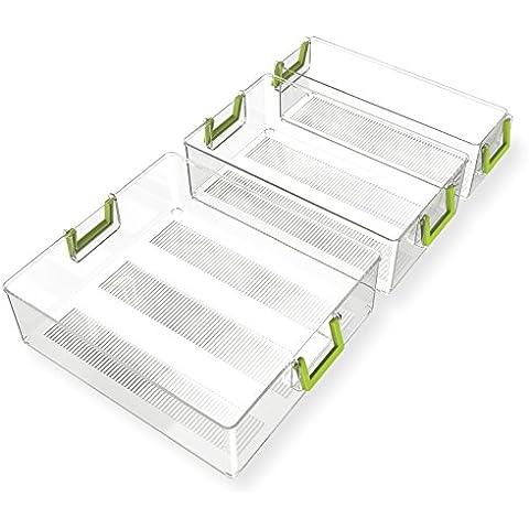 Organizador Nevera Ecológico - Quntis® 3 Pack Varios Tamaños [Práctico & Seguro] Cajas de Almacenaje Transparente Moderno Frigorífico/ Congelador/Cocina Contenedor para Botes Bricks Frutas Verduras Alimentos,