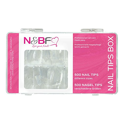 N&BF Nagel Tips Edge/eckig | Nageltip Set 500 Stück klar | Sortierbox Profi Nail Extensions flexibel & vielseitig | Kunstnägel Made in EU | Eckige Nagelspitzen in 10 versch. Größen