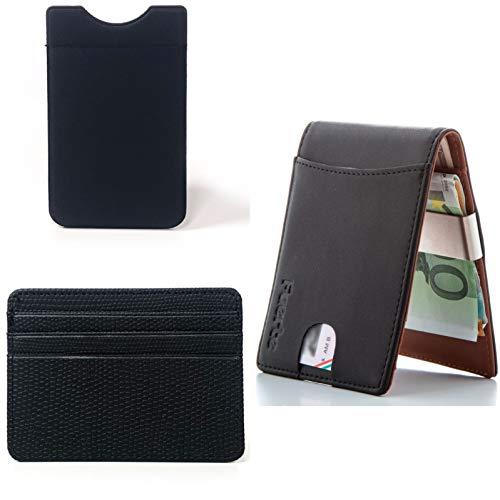 Porta Carte Set 3 Pezzi, FUERTE Kit Wallet Comprende 1 Portafoglio Uomo Sottile Vera Pelle Protezione RFID, In Più 1 Porta Carte di Credito PU, E In Più 1 Porta Tessere Lycra Adesivo Per Cellulare