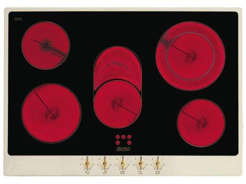 LogiLink® P875P Kochfeld (eingebaut, Halogen, Glas und Keramik, drehbar, obere Vorderseite, 380-415V) Schwarz, Creme
