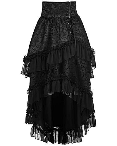 Punk Rave Pyon Gótico Lolita Falda Negro Largo Steampunk Encaje de Flores Victoriano Negro, XS S: UK Womens Size 6 8