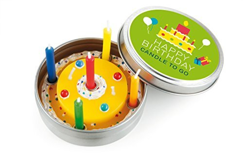 Donkey Products Kerze in Metalldose Candle To Go Happy Birthday, Geburtstagskuchen, inkl. 5 Mini-Kerzen, Ø 6.5 cm, 220451