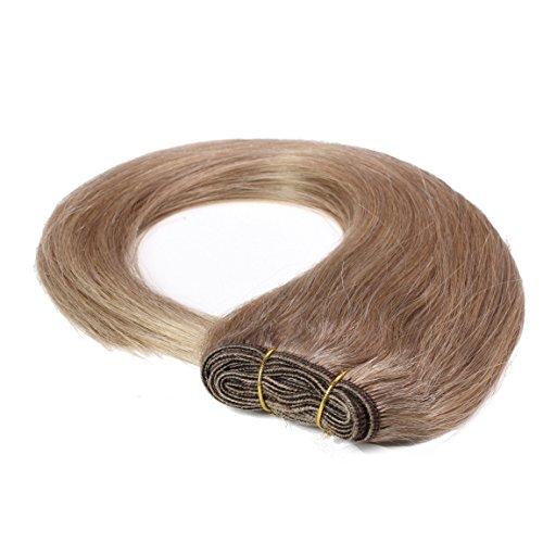 Hair2heart extension matassa tessitura capelli veri - 40cm - liscio, colore #10 biondo miele cenere