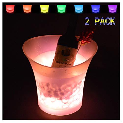 DAWNBOYE LED Eiskübel,5L Großraum Flaschenkühler,Sektkühler,Weinkühler,Getränkekühler,Kühler Led Wasserdicht mit Farbwechsel,für Party,Haus,Bar,etc (Batterien Nicht enthalten),2 pcs