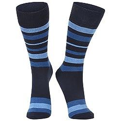 DUKK Men's Striped Light Blue & Navy Blue Crew Length Socks