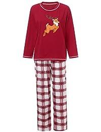 Zolimx Weihnachten Sleepwear Eltern Kinder Baby Santa Deer Langram Tops Bluse Hosen Familien Pyjamas Nachtwäsche Christmas Outfits Set