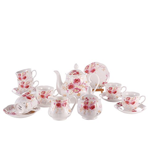 Porzellan Bone China Tea Set Service Creamer Teekanne und 6 Cups und Untertassen Sets Rose Painting Pattern Kaffeetasse 15 PCS Weiß Keramik Europäischen Nachmittagstee Tasse - Tea Rose Creamer