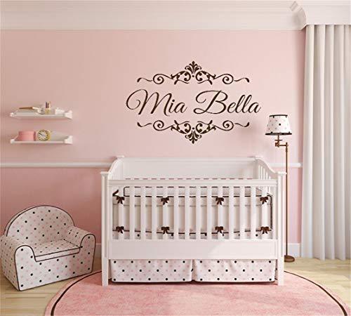 wandaufkleber grau Personalisierte Namen Kindergarten für Prinzessin Room Home Decor Mädchen Zimmer kreative ()