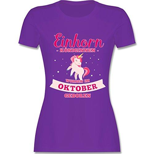 Shirtracer Geburtstag - Einhorn Königinnen Wurden IM Oktober Geboren - Damen T-Shirt Rundhals Lila