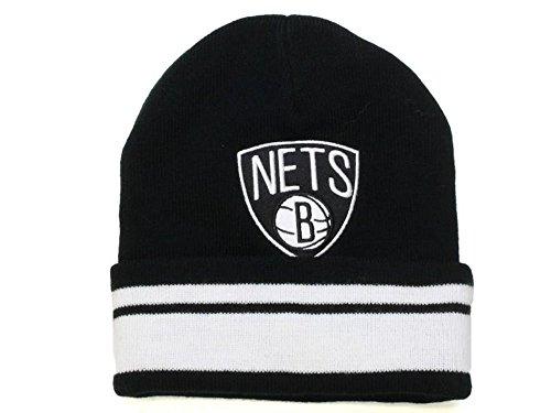 Mitchell & Ness NBA BROOKLYN NETS Stripe Cuff Adult's Beanie Hat (KN46Z) (Black) (One Size)