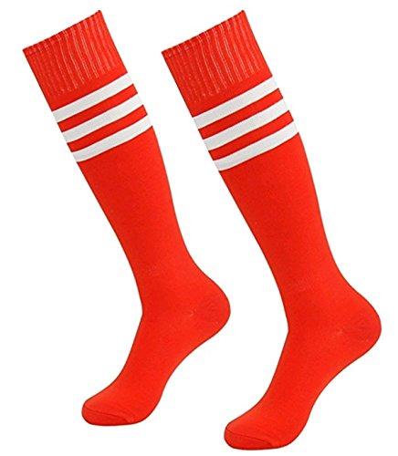 LAAT Damen Männer Kniestrümpfe Ladies College Socks Socken mit Streifen für Frauen Überkniestrümpfe in Elastisch Strümpfe Cheerleading (Rot1)