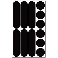 B REFLECTIVE, Kit 12 Autocollants rétro réfléchissants, Visibilité de Nuit, Adhésif Universel, Stickers pour Vélo/Casque/Moto/Poussette/Jouets, Noir