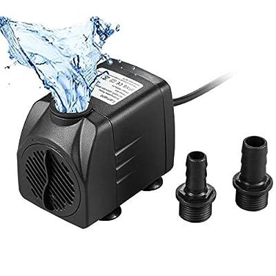 Lamantt Pompe à Eau Submersible - 1500L/H 25W Brushless Moteur Pompe Submersible à Eau Pompe pour Aquarium Poisson Fontaine Hauteur Libre 2m et 2 Buse 13mm-16mm, Câble 1.5m