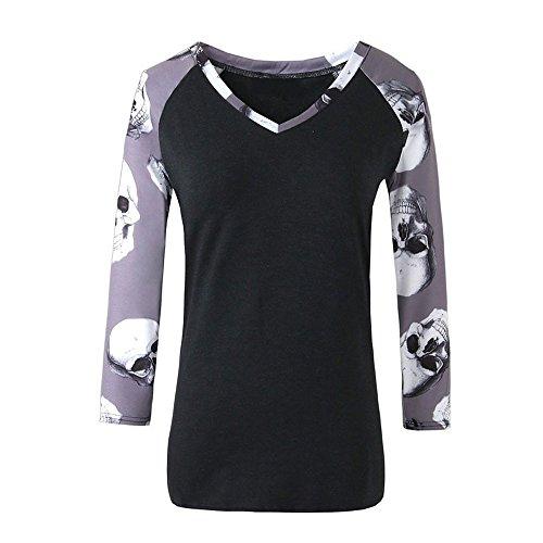 e Sommerkleider Herbst Kleidung Damen Cool Totenkopf Skull Head Muster Gelb Lange Ärmel Baumwolle T-shirt Top Bluse Halloween Kostüm ((Größe):38 (L), Schwarz) (Herren-lustigen Halloween-t-shirts)