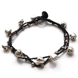 Idin Fußband – Doppelsträngig mit silbernen Perlen und Glöckchen (ca. 24 cm lang)