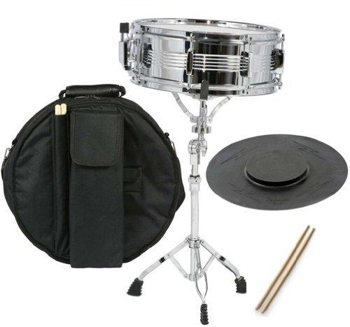 Snaredrum Set mit Tasche, Stäbchen, Ständer und Übungspad Snare Drum-Set chrome