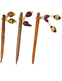 Salvus App SOLUTIONS Brown Wooden Combo Of 3 Juda Pin For Women