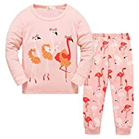 Toddler Girls Pyjamas Set 100% Cotton Pjs Cute Flamingo Kids Christmas Sleepwear Tops & Trousers Children Outfit Age 1-7 Years