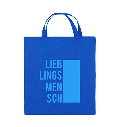 Comedy Bags - LIEBLINGSMENSCH - BLOCK - Jutebeutel - kurze Henkel - 38x42cm - Farbe: Schwarz / Pink Royalblau / Blau