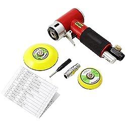 Dyna-living Mini Ponceuse Excentrique Outil Polisseuse Rotative d'angle de Pression Orbitale Air Pneumatique avec Tampon de Ponçage de 50mm et de 75mm, 15000 rpm (Rouge)