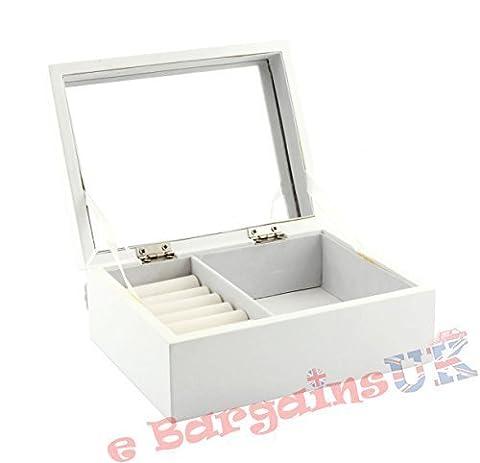 The Leonardo Collection–Style shabby Chique Boîte à bijoux Blanc avec Miroir intérieur doublé et souple (Taille M)