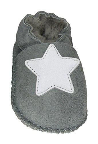 Plateau Tibet - ECHT Lammfell Baby Kinder Schuhe Babyschuhe - Stern weiß, Grau (Gray), Gr. 26-27