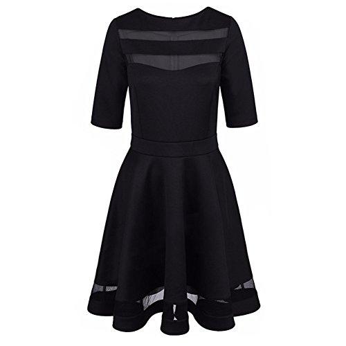 Moresave - Robe - Moulante - Manches Courtes - Femme Noir