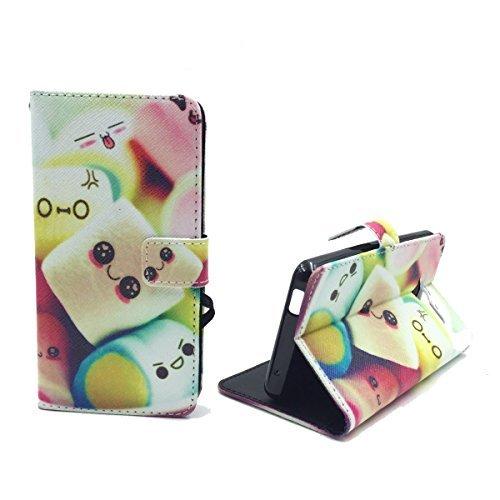 König-Shop Handy-Hülle für ZTE Blade L3 Klapp-Hülle aus Kunst-Leder | Inklusive Panzer Schutz Glas 9H | Sturzsichere Flip-Case in Mehrfarbig | Im Marshmallow Motiv