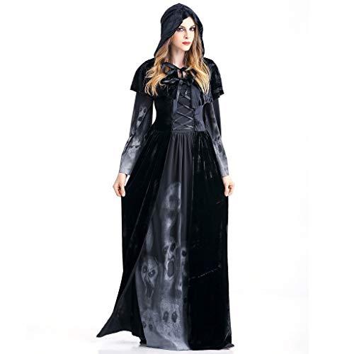 Kostüm Infirmiere - generisch Gotische Kleidung Damen Steampunk Langen Edler Uniform Kostüm Party Outwear Long Gothic Mantel Pulloverkleid Frauen Halloween Cosplay Kostüm Vintage Hexe Langarm Maxi Kleid