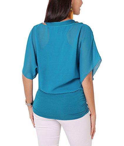 KRISP® Femmes Blouse Ample Boho Mousseline Manches Chauve Souris Froncée Pois Bleu Sarcelle (3559)