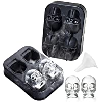 Molde de hielo 3D Cráneo - Bandeja de silicona flexible de grado alimentario con tapa impermeable, Sin BPA.(con embudo)(Negro)