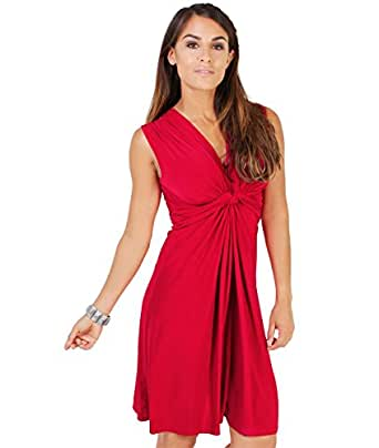 9354-RED-10: Ruched Drape Twist Knot Front Mini Dress Tie Belted Party Summer Casual Beach