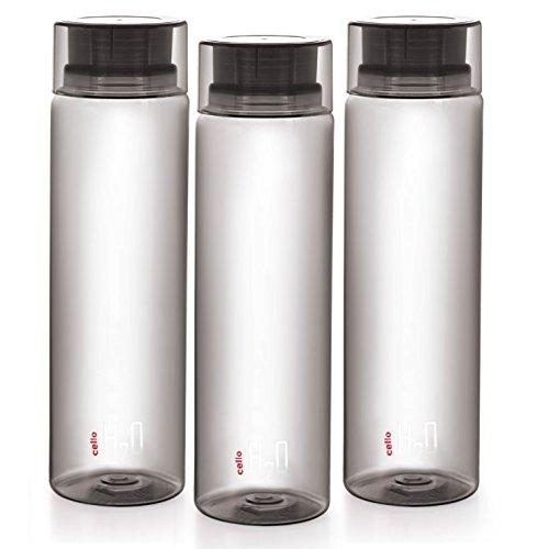 Cello Delux Unbreakable Water Bottle Set, Set of 3, 1 Litre/22.8cm, Black
