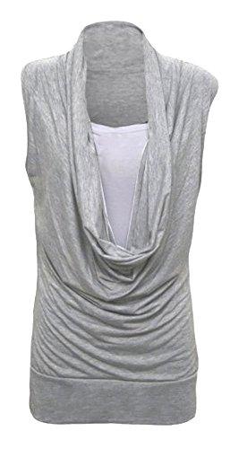 Fast Fashion – Haut De Taille Ordinaire, Plus Col Cagoule Veste Intérieure 2 En 1 Tunique De Style Sans Manches - Femmes Gris