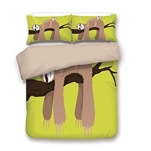 Bettbezug-Set, Faultier, Cartoon-Mutter schlafend auf Zweig mit Kind Faultier auf dem Rücken Unbeschwerte Familie dekorativ, Kakao apfelgrün, dekorativ 3 Stück Bettwäsche-Set von 2 Pillow Shams Twin S