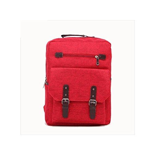 Backpack 20L-35L Tela Zaino per Scuola Viaggio Lavoro , khaki Red