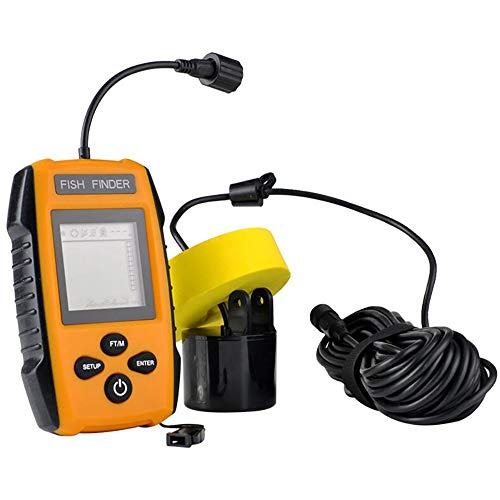 Handheld Fish Finder Portable Fishing Kayak Fishfinder Fish Ender Finder Fishing Gear mit Sonar Transducer und LCD-Display Handheld-fishfinder