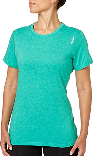Reebok Women's Heather Crewneck Jersey T-Shirt - Crewneck Heather Jersey T-shirt
