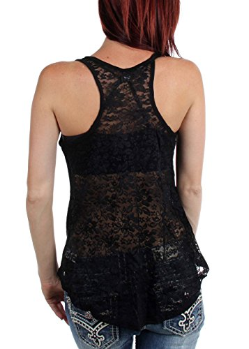Sullen angeli – Donne Andy Lace Back Tank Top Black