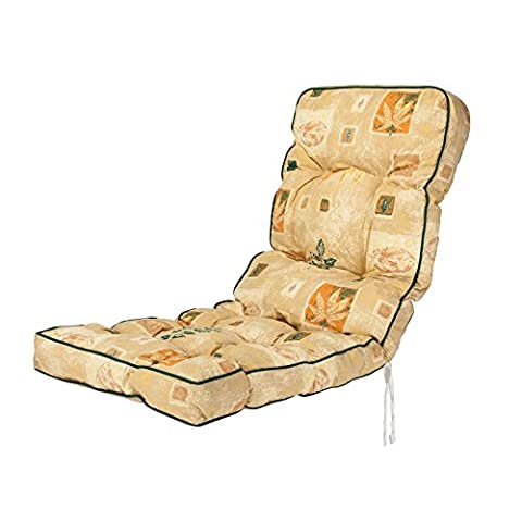 Replacement Classic Outdoor Garden Recliner Chair Cushion - Choice of Prints (Leaf Beige)