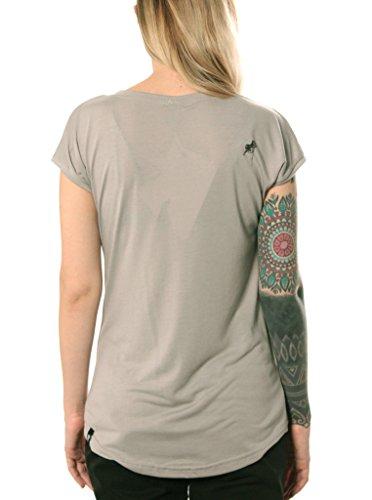 Damen T-Shirt mit Home and Away Schildkröten Design Aufdruck - handgefertigt durch Siebdruck Street Style Tee - Street Habit Hellgrau