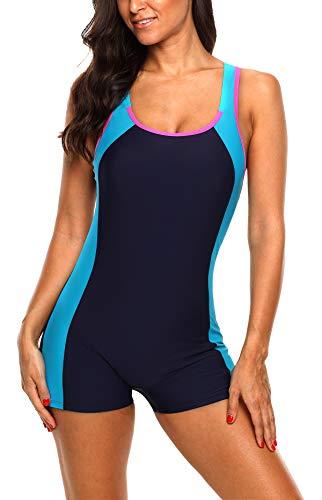 BeautyIn Badeanzug für Damen Racerback Figurformen Bademode Sportlich Schwimmanzug Farbblock XL