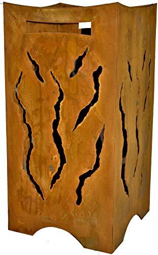 Rostikal | Flammen Feuerkorb | Feuerstelle - für Garten und Terrasse | Stahl Rost Optik | 28 x 28 x 57 cm