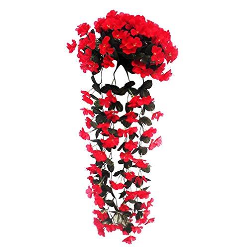 Pink888-1 mazzo di orchidee viola artificiale, in rattan, da appendere alla parete