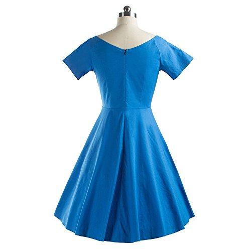 Dabag - Été pure couleur Retro Robe courte en V à manches courtes plissée Sexy dos nu tunique tempérament Swing Robe (S, Bleu) Bleu