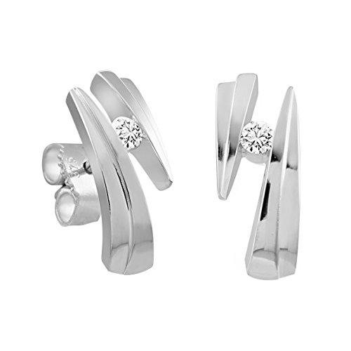 Diamond Line Damen-Diamant-Ohrstecker 2 Diamanten ca. 0,12ct. getöntes weiß Lupenrein (gW-LR)