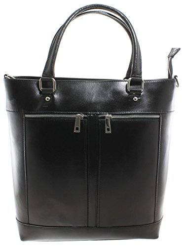 CTM femme sac classique, sac à main avec poignées, 34x36x10cm, cuir véritable 100% Made in Italy
