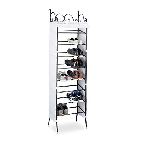 Relaxdays Metall Schuhregal COUNTRY 174 x 48 x 29 cm HxBxT, 8 Ablagen für 20 Paar Schuhe, Stoffschrank, schwarz-weiß