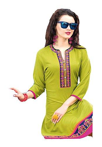 Jayayamala Frauen Grün Baumwolle Tunika Scoop Neck Multi Farbe Bestickt Top Partykleid (XXXL) (Tag Design-junioren Tee)