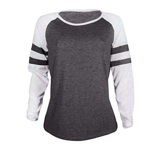 Buimin Fashion Women Hit Color Mosaic Round Neck Long-Sleeved T-Shirt (Dark Gray, S)